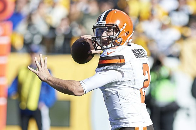 Former Cleveland Browns quarterback Johnny Manziel gets set to pass during a game against the Pittsburgh Steelers in 2015. Photo by Shelley Lipton/UPI