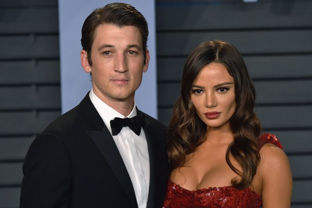Miles Teller (L) with Keleigh Sperry. The actor has been cast in the upcoming sequel to Top Gun starring Tom Cruise. File Photo by Christine Chew/UPI