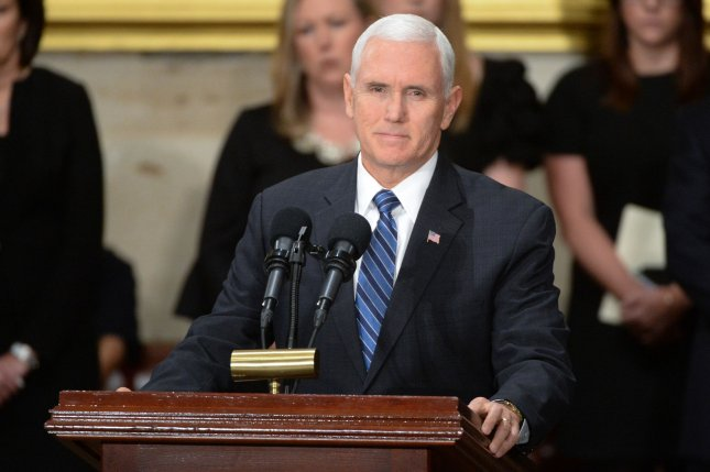 Vice President Mike Pence broke a tie in the Senate Tuesday for the confirmation of Jonathan Kobes to the 8th Circuit Court of Appeals, the first time a vice president has intervened in a judicial confirmation in U.S. history. Photo by Kevin Dietsch/UPI
