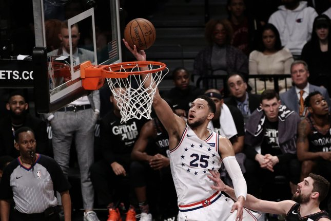 Philadelphia 76ers guard Ben Simmons (25) was fined $20,000 by the league after elbowing Toronto Raptors guard Kyle Lowry in the groin during Game 3 Thursday night. File Photo by Peter Foley/UPI