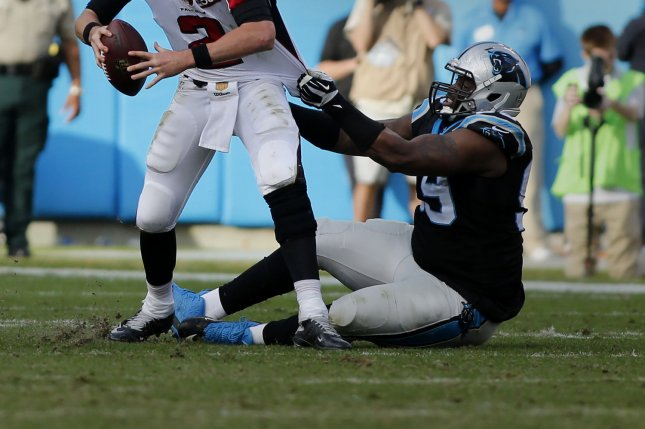 Carolina Panthers defensive tackle Kawann Short (R) hasn't played since suffering an injury during Week 2 against the Tampa Bay Buccaneers. File Photo by Nell Redmond/UPI