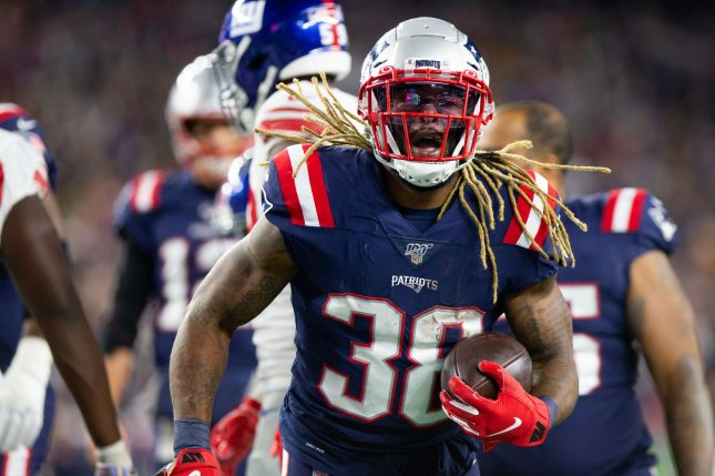 New England Patriots running back Brandon Bolden (38) had a rushing touchdown and a blocked punt in a win against the New York Giants Thursday in Foxborough, Mass. Photo by Matthew Healey/UPI