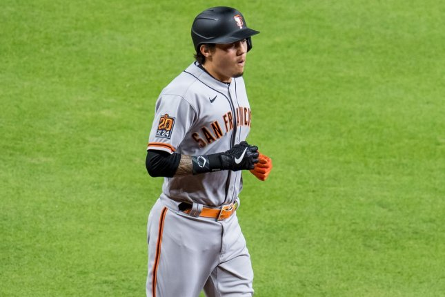 Wilmer Flores scored the game-winning run in the San Francisco Giants' win over the Houston Astros Tuesday in Houston. Photo by Trask Smith/UPI