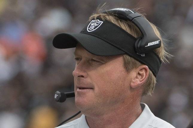 Former Las Vegas Raiders head coach Jon Gruden, shown Sept. 30, 2018, coached the Tampa Bay Buccaneers from 2002-08. He guided the franchise to a Super Bowl title in the 2002-03 season. File Photo by Terry Schmitt/UPI