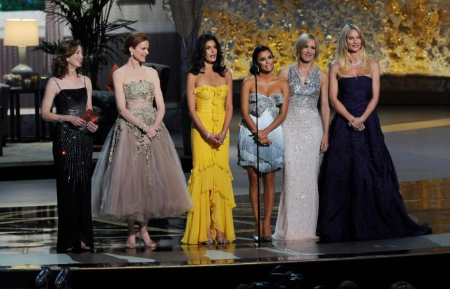 The cast of Desperate Housewives Dana Delany, Marcia Cross, Teri Hatcher, Eva Longoria, Felicity Huffman and Nicollette Sheridan (L-R) take the stage at the 60th annual Primetime Emmy Awards in Los Angeles on September 21, 2008. (UPI Photo/Jim Ruymen)
