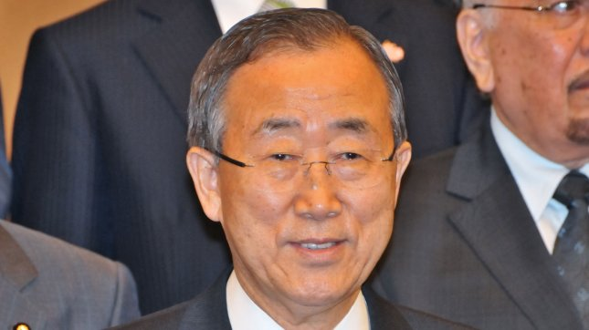 U.N. Secretary-General Ban Ki-moon attends a photo session during the Tokyo Conference on Afghanistan in Tokyo, Japan on July 8, 2012. In Bosnia on a visit to Balkan countries that emerged from the former Yugoslavia, Ban became the first secretary-general to visit Srebrencia, site of a 1995 massacre of more than 8,000 Muslim men and boys by Bosnian Serbs.  UP File PhotoI/Keizo Mori