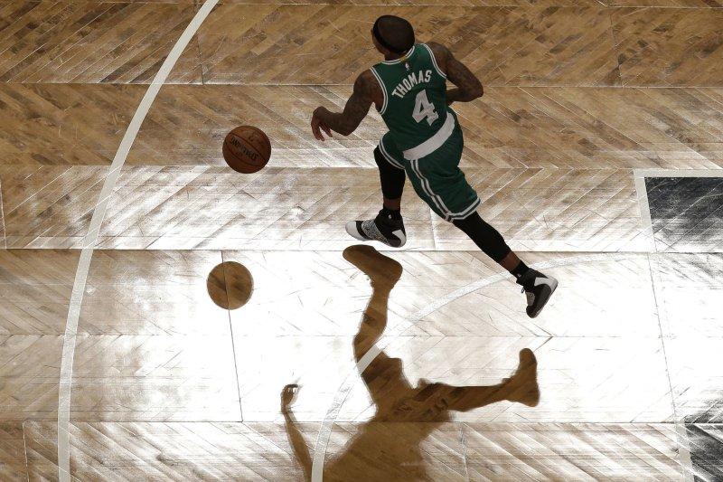 Boston Celtics point guard Isaiah Thomas. Photo by John Angelillo/UPI