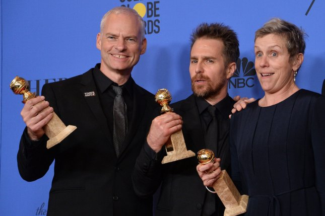 Left to right, Three Billboards Outside Ebbing, Missouri director Martin McDonagh and actors Sam Rockwell and Frances McDormand appear backstage during the Golden Globe Awards. The film and its stars will likely win big at the Oscars. Photo by Jim Ruymen/UPI