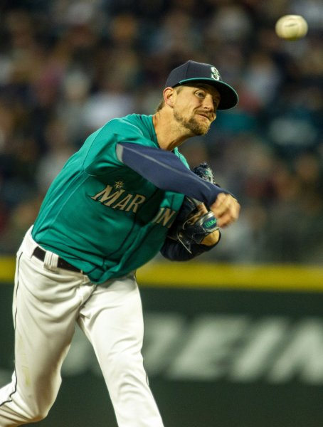 Mike Leake and the Seattle Mariners face the Los Angeles Angels on Tuesday. Photo by Jim Bryant/UPI