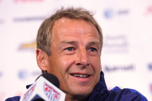 Former United States Men's National Team soccer coach Jurgen Klinsmann will coach his first game for Hertha Berlin against Borussia Dortmund at 9:30 a.m. EST Saturday in Berlin. File Photo by Bill Greenblatt/UPI