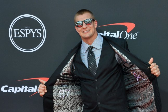 Rob Gronkowski attends the 27th annual ESPY Awards at the Microsoft Theater in Los Angeles on July 10. The NFL player turns 31 on May 14. File Photo by Jim Ruymen/UPI