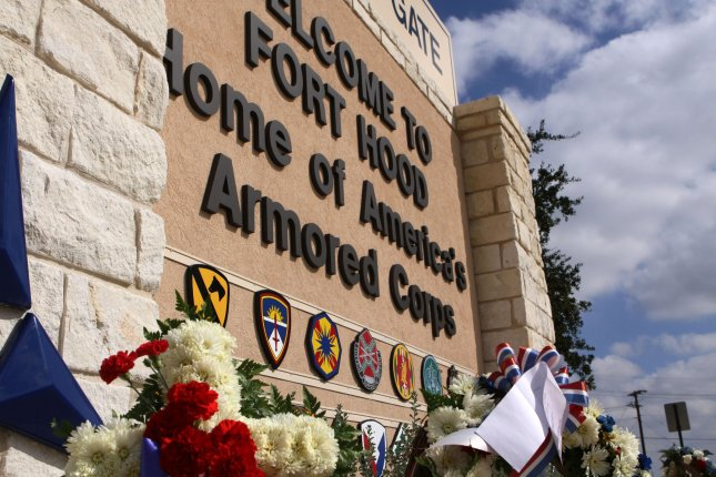 The main gate at the Fort Hood Army Base is seen on South Fort Hood Street in Killeen, Texas. UPI/Robert Hughes