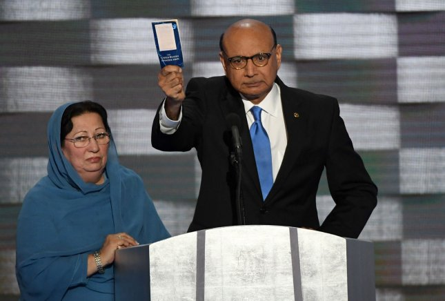 Khizr Khan, whose son, Capt. Humayun Khan, was killed in Iraq, hold us a copy of the U.S. Constitution address delegates on day four of the Democratic National Convention at Wells Fargo Center in Philadelphia, Pennsylvania last Thursday. Khan's speech has sent sales of pocket versions of the Constitution soaring. Photo by Pat Benic/UPI