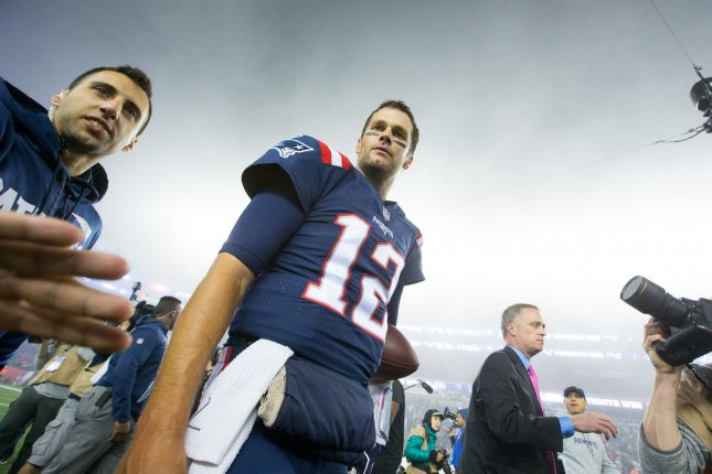New England Patriots quarterback Tom Brady (12) heads off the field after the Patriots defeated the Falcons 23-7 on October 22 at Gillette Stadium in Foxborough, Mass. File Photo by Matthew Healey/UPI