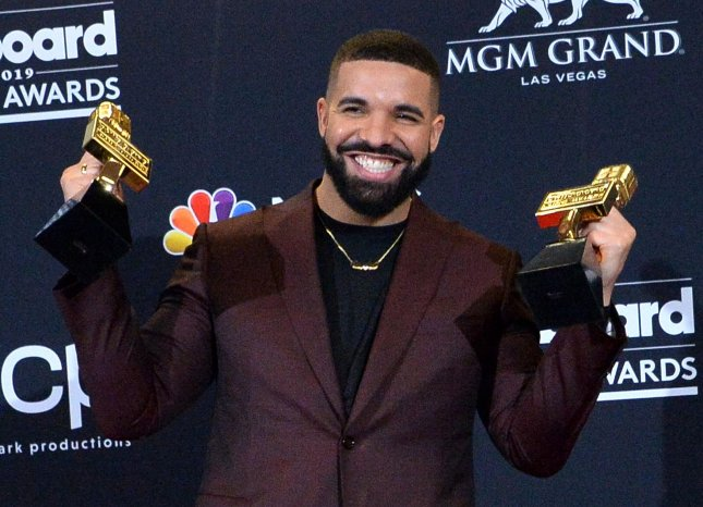 "Drake appears backstage after winning the awards for Top Artist, Top Male Artist and Top Billboard 200 Album for ""Scorpion,"" during the 2019 Billboard Music Awards at the MGM Grand Garden Arena in Las Vegas. Photo by Jim Ruymen/UPI"