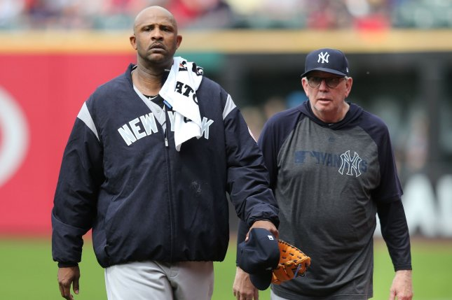 Former New York Yankees pitching coach Larry Rothschild (R) spent nine seasons with the team before being fired following the club's ALCS loss to the Houston Astros. File Photo by Aaron Josefczyk/UPI