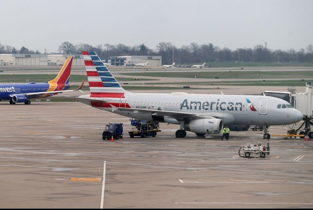 An American Airlines plane is parked at St. Louis-Lambert International Airport in St. Louis on March 28. American said it will seek $3.5 billion in new financing to weather coronavirus restrictions. Photo by Bill Greenblatt/UPI