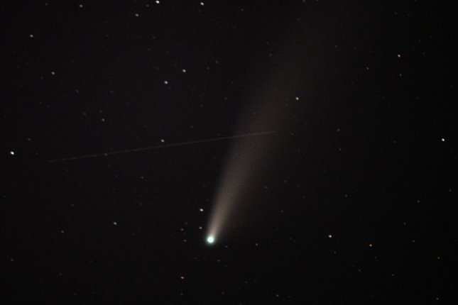 The Comet NEOWISE is seen in the sky over Shenandoah National Park near Front Royal, Va., on July 19, 2020. This comet was the most recent to be visible in the sky in the United States. File Photo by Pat Benic/UPI