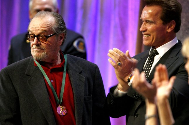 Actor Jack Nicholson tooks to the audience after receiving a Spirit of California Medal from California Governor Arnold Schwarzenegger at the 2008 California Hall of Fame, in Sacramento, California, on December 15, 2008. Nicholson and 11 other Californians were inducted into The California Museum's California Hall of Fame. (UPI Photo/The California Museum)