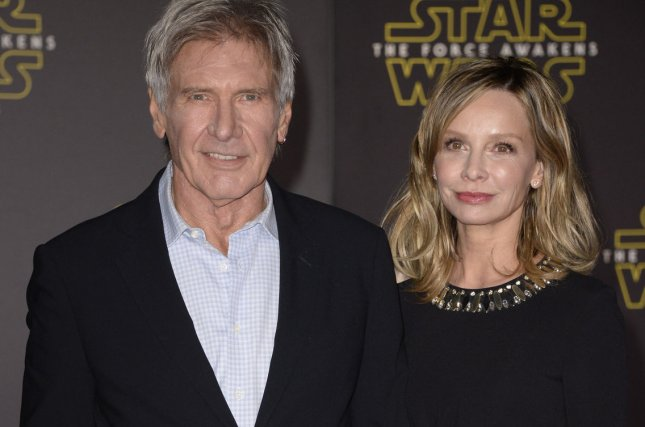 Harrison Ford and Calista Flockhart attend the premiere of Star Wars: The Force Awakens on December 14, 2015. A throwback photo of the actor has gone viral. File Photo by Phil McCarten/UPI