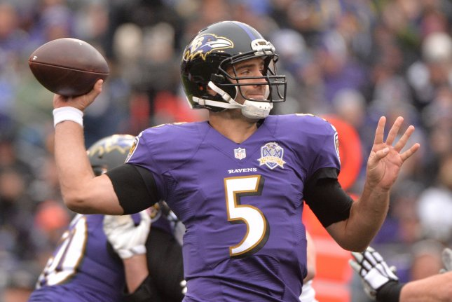 Baltimore Ravens quarterback Joe Flacco look to pass against the St. Louis Rams in the first quarter at M&T Bank Stadium in Baltimore, Maryland on November 22, 2015. Photo by Kevin Dietsch/UPI