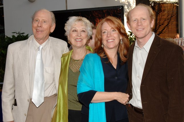 Rance Howard died Saturday at the age of 89. He is pictured here with his wife Judy, his son Ron and his daughter-in-law Cheryl in 2005. File Photo by Jim Ruymen/UPI