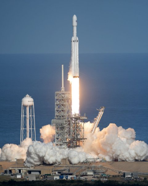 The first SpaceX Falcon Heavy lifts off at 3:45 pm from historic Launch Complex 39A at the Kennedy Space Center in Florida on Tuesday. The inaugural launch sent Elon Musk's Tesla Roadster on a mission that will send the vehicle to Mars in a demonstration of the rocket's capabilities. Photo by Joe Marino/Bill Cantrell/UPI