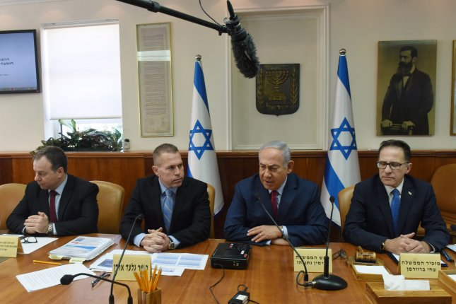 Israeli Prime Minister Benjamin Netanyahu chairs a meeting of the Ministerial Committee on Violence against Women on Wednesday. Photo by Debbie Hill/UPI
