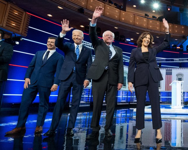 Of the 65 percent of Democrats who have positive opinions of the 2020 presidential candidates, 23 percent called them excellent and 42 percent called them good. Photo by Kevin Dietsch/UPI