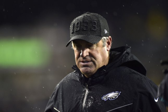 Indianapolis Colts offensive coordinator Nick Sirianni will replace former Philadelphia Eagles head coach Doug Pederson (pictured), who was fired earlier this month after five seasons with the team. File Photo by Derik Hamilton/UPI