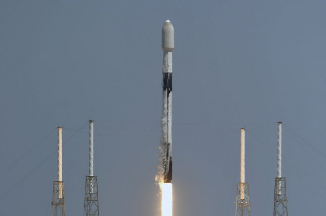 A SpaceX Falcon 9 rocket launches Starlink satellites from the Cape Canaveral Space Force Station, Florida, earlier this month. File Photo by Joe Marino/UPI
