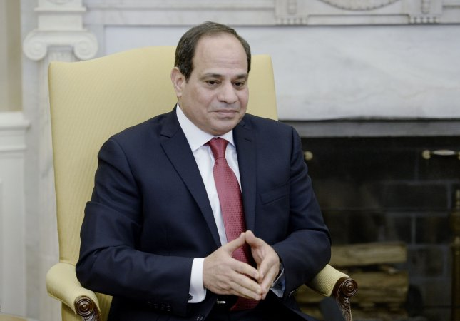 Egyptian President Abdel Fattah El-Sisi, photographed at the White House on April 1, ordered the pardon of 502 prisoners Friday, to coincide with the Muslim holy days of Eid al-Fitr. Pool File Photo by Olivier Douliery/UPI