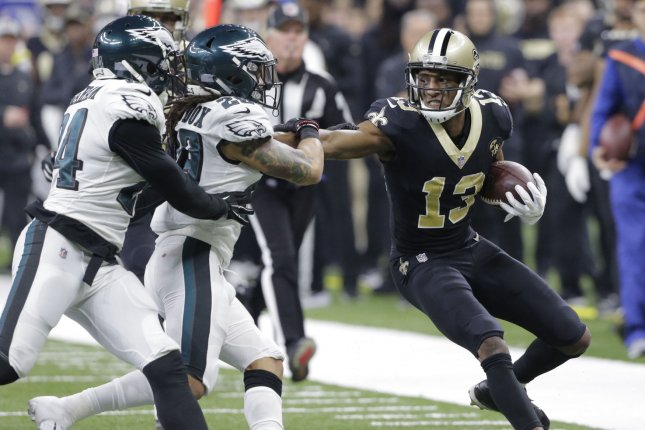 New Orleans Saints wide receiver Michael Thomas (13) can be fined $40,000 for each day of training camp he fails to attend. File Photo by AJ Sisco/UPI