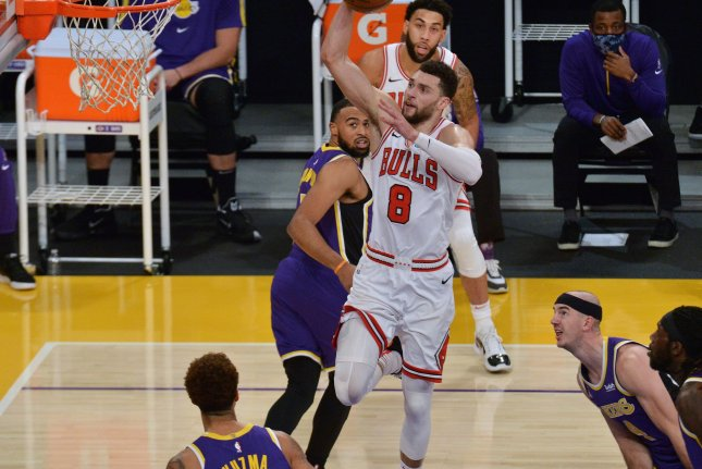 Chicago Bulls guard Zach Lavine (8) is expected to miss several games due to his placement in the NBA's health and safety protocols. File Photo by Jim Ruymen/UPI