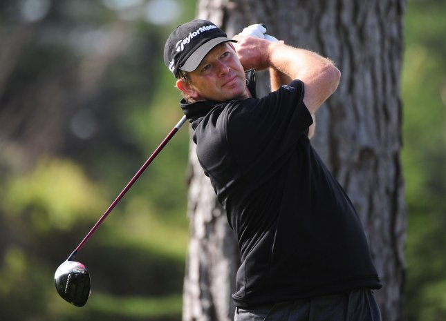 Retief Goosen, shown during last year's U.S. Open, has the club house lead in first-round play at the European Tour's Qatar Masters. UPI/Kevin Dietsch