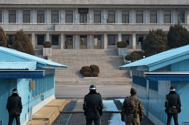 A North Korean soldier stands guard at the joint security area of Panmunjom in South Korea. Seoul held emergency meetings immediately after the U.S. presidential election. File Photo by Keizo Mori/UPI