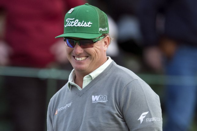 Charley Hoffman smiles as he finishes his first round at the 2017 Masters Tournament at Augusta National Golf Club in Augusta, Georgia on April 6, 2017. Hoffman finished with seven-under-par for the first round. Photo by Kevin Dietsch/UPI