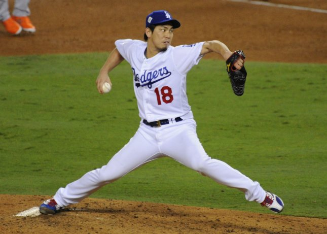 Kenta Maeda and the Los Angeles Dodgers are scheduled to take on the Chicago Cubs twice on Tuesday. Photo byLori Shepler/UPI