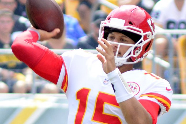 Patrick Mahomes and the Kansas City Chiefs take on the Oakland Raiders on Sunday. Photo by Archie Carpenter/UPI