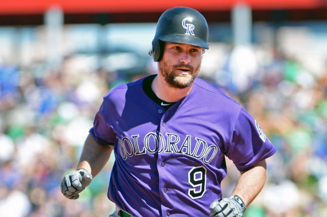 Colorado Rockies infielder Daniel Murphy had one hit, but scored a vital run in a win against the Pittsburgh Pirates on Tuesday in Pittsburgh. File Photo by Art Foxall/UPI