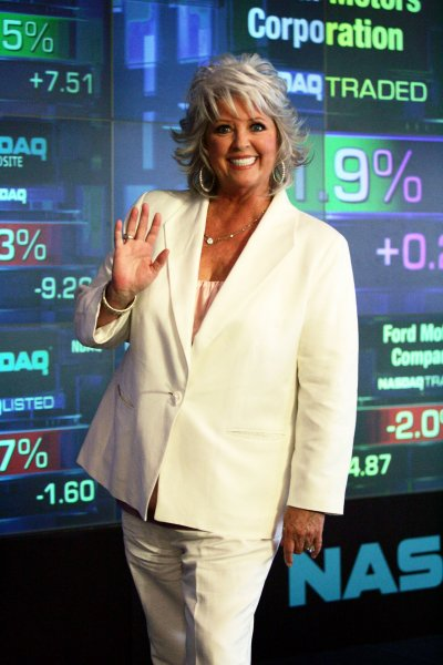 Chef Paula Deen takes part in the closing bell ceremonies at the NASDAQ in New York on June 30, 2008. (UPI Photo/Laura Cavanaugh)