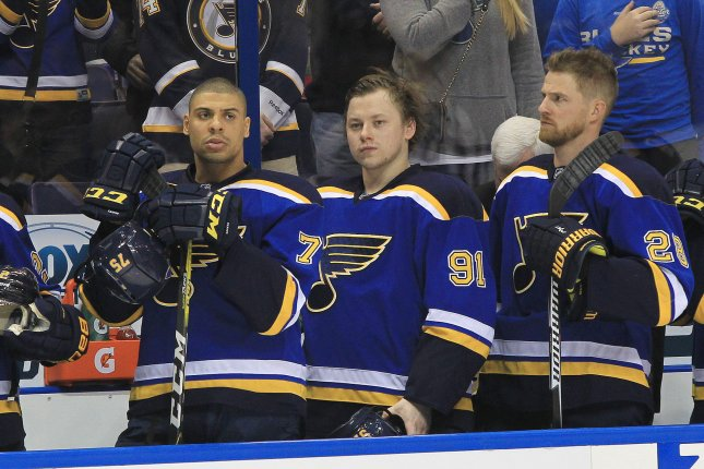 St. Louis Blues Vladimir Tarasenko of Russia (91) stands with teammates for the National Anthem before a game against the Boston Bruins at the Scottrade Center in St. Louis on January 10, 2017. File Photo by Bill Greenblatt/UPI