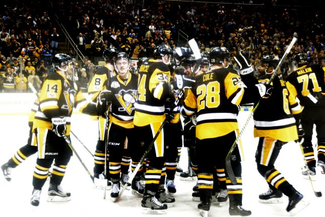 Sidney Crosby increased his league lead to 34 goals and Matt Cullen, playing in his first NHL outdoor game at age 40, scored the winning goal as Pittsburgh bested Philadelphia 4-2 at Heinz Field in a Stadium Series game. File Photo by Archie Carpenter/UPI
