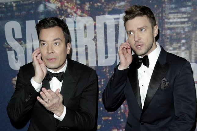 Jimmy Fallon (L), pictured with Justin Timberlake, discussed his early friendship with the singer on Thursday's episode of Watch What Happens Live. File Photo by John Angelillo/UPI