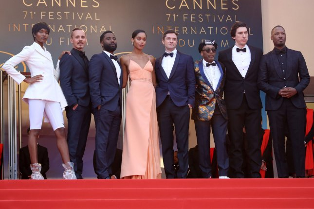 Left to right,the cast and crew of Blackkklansman including Damaris Lewis, Jasper Paakkonen, John David Washington, Laura Harrier, Topher Grace, Spike Lee, Adam Driver and Corey Hawkins. A trailer for the film was released following its debut at Cannes. Photo by David Silpa/UPI