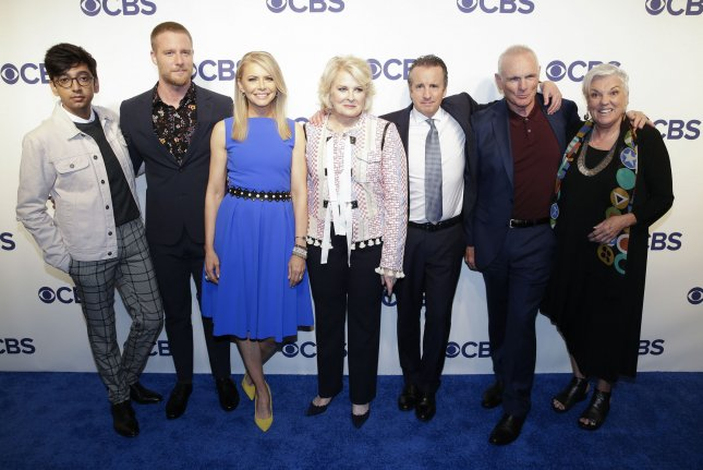 The cast of Murphy Brown, left to right, Nik Dodani, Jake McDorman, Faith Ford, Candice Bergen, Grant Shaud, Joe Regalbuto and Tyne Daly. CBS has released new photos of the cast taking part in a table read. File Photo by John Angelillo/UPI