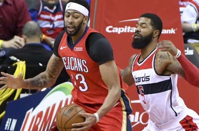 Anthony Davis and the New Orleans Pelicans take on the Charlotte Hornets on Sunday. Photo by Mark Goldman/UPI