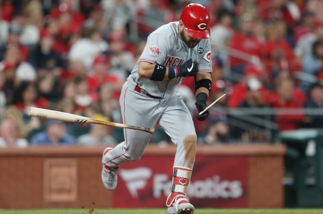 Cincinnati Reds third baseman Eugenio Suarez started a streak of three home runs on three consecutive pitches in the first inning of a loss to the San Francisco Giants on Sunday at Great American Ball Park in Cincinnati. File Photo by Bill Greenblatt/UPI