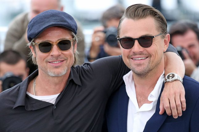 Brad Pitt (L) and Leonardo DiCaprio arrive at the 72nd annual Cannes International Film Festival on Wednesday in support of Once Upon A Time in Hollywood Photo by David Silpa/UPI
