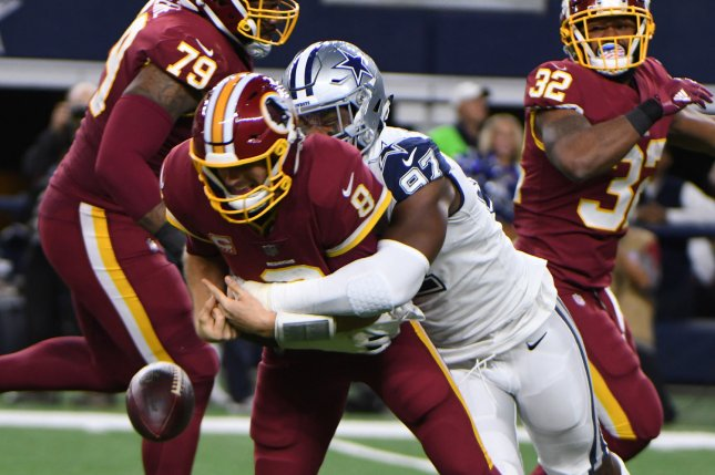 Former Dallas Cowboys defensive end Taco Charlton (97) was waived by the Cowboys after he demanded his release on social media. File Photo by Ian Halperin/UPI